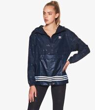 SMALL adidas Women's  1/2 ZIP  TREFOIL  AOP  HOODED WINDBREAKER   BLUE  LAST1