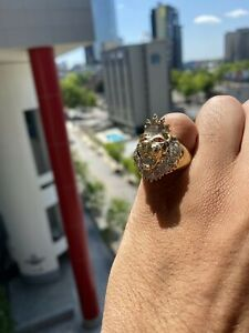 10K Solid Yellow Gold and Diamond 0.50 CT Lion Ring Size 10