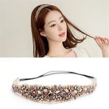 Womens Elastic Lace Rhinestone Head Chain Crystal Headband Hair Band