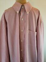 Brooks Brothers 346 Men's Dress Shirt Red White Striped Button Down Size 16 4/5