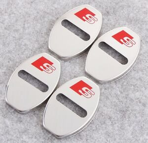 AUDI S-Line Steel Door Lock Pin Covers for A2 A3 A4 A5 A6 Q5 Q7 Brand New
