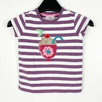 Hanna Andersson Purple Striped T-shirt Girls Appliqué Ice Cream Sundae Sz 90 3