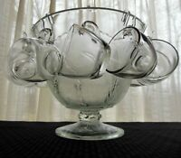"""Indiana Glass Clear Pebble Leaf """"Orleans"""" Ftd Punch Bowl, Cups, Hooks, 26 pc Set"""