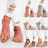 Womens Gladiator Roman Flats Flip Flops Beach Ankle Strap Sandals Open Toe Shoes