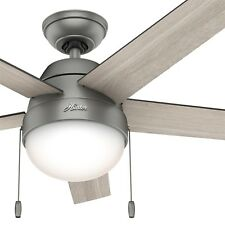 "46"" Hunter Contemporary Ceiling Fan in Matte Silver with Light"