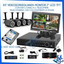 VIDEOSORVEGLIANZA KIT DVR 4Ch VISIONE WEB CELLULARE CON MONITOR TELECAMERE HD