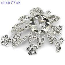 Gran Plata Flor Hojas Broche Diamante cristal de Estrás abordar Boda Fiesta