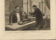 ORIGINAL 1885 PRINT . LOUIS PASTEUR EXPERIMENT ON A RABBIT !