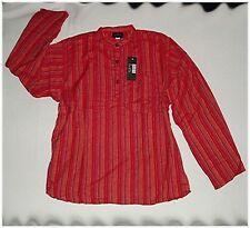 NEU* L* Nepal FISCHER Hemd KURTA HIPPIE GOA Indien ETHNO Fisherman Shirt * Rot