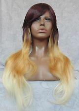 Long Layered Wavy Brown Blonde layered Cosplay/Party Full Synthetic Wig - #43