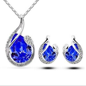 Pendant Necklace Set Jewellery Stud Chain Earring Necklace Gift Ladies Womens