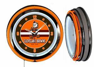 "Cleveland Browns Brownie 19"" ORANGE Neon Clock Man Cave Game Room Bar Football"