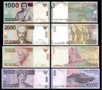 INDONESIA SET 4 PCS 1000 2000 5000 10000 RUPIAH 2009-2016 UNC