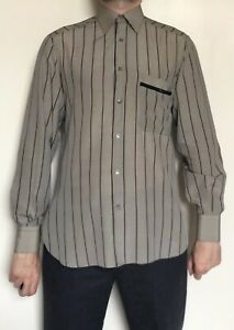 Mens Vintage Bijan 100% Silk Long Sleeve Shirt Italy Grey Medium