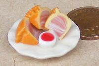 1:12 Scale Handmade Pork Pie Slices On A 2.5cm Ceramic Plate Dolls House Food T