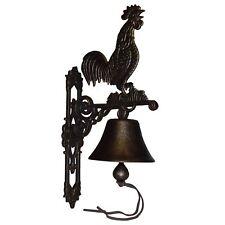 Gold Cockerel Rooster Chicken Hen Bell Cast Iron Sign Door Wall Post House