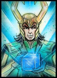 Marvel Avengers LOKI Original Sketch Card Painting by Bianca Thompson