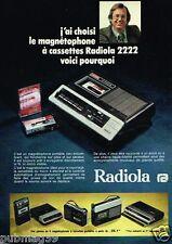 Publicité advertising 1975 Le magnetophone Radiola 2222