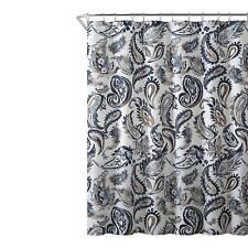Decorative Navy Blue Gold Fabric Shower Curtain Watercolor Floral Paisley NWOP