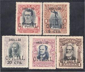 Costa Rica Sonnettes De Service 44/48 1921 Jésus Jimenez Juan Mora Joseph M.