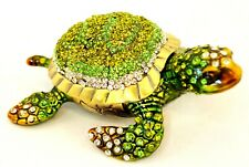 Hand Made Sea Turtle Trinket Box. Made with Swarovski Crystals & Enamel