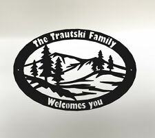 "Custom Metal welcome sign cnc cut out of heavy 14ga steel 16""x24"""