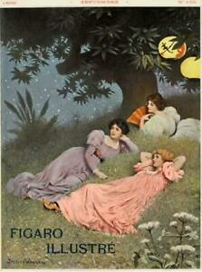 ORIGINAL VINTAGE POSTERAT LANTERN NIGHT BY WAGREZ FOR FIGARO ILLUSTRE 1898