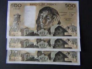 Lot suite 3 billets Banque France 500 Francs Pascal Neufs jamais circulés Epingl