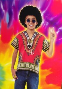 Boys HIPPIE Hippy Halloween Purim Costume Afro Wig Glasses Necklace Sm M L NEW