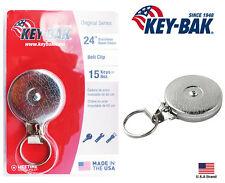 "Key-Bak Retractable Key Reel Silver 24"" Stainless Steel Chain With Key Hook"