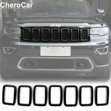 Front Grill Rings Grille Inserts Cover Trim for 17+ Jeep Grand Cherokee Black P