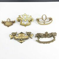 Lot of 5 Vintage Antique Brass Furniture Drawer Pulls Handles Reclaimed Hardware
