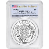 2019-S Proof 50c American Legion 100th Ann Half Dollar PCGS PR70DCAM FS Flag Lab