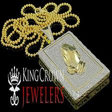 Diamond Praying Hands Pendant Mens 10K Yellow Gold Finish Square Charm 0.50 Ctw