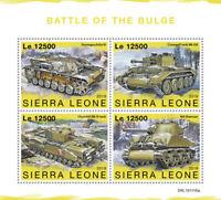 Sierra Leone Military & War Stamps 2019 MNH WWII WW2 Battle of Bulge Tanks 4v MS