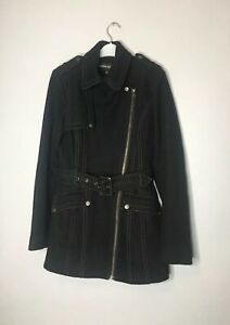 Warehouse Womens Belted Zipped Wool Blend Coat Jacket Black 6 Excellent Cond