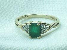 Estate Designer 14K Yellow Gold Emerald & Diamond Ring