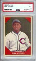 Earl Averill 1960 Fleer Vintage Baseball Card Graded PSA 5 EX Indians #71