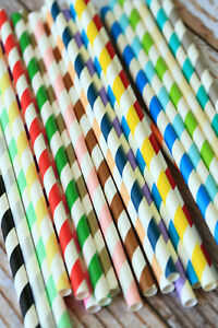 Candy Stripe Paper Straws 25pc birthday wedding colorful garden party supplies