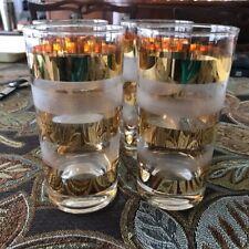 "4 MCM Vintage GOLD & WHITE FROSTED 6"" GLASSES CHIC ELEGANT"