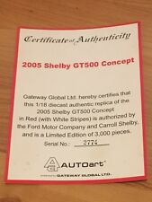 1:18 Autoart Shelby GT500 Concept Red with stripes CERTIFICATE ONLY!!! 73053