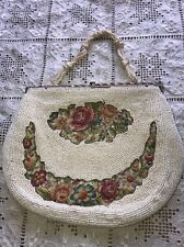 Vintage Petite Point beaded evening cocktail hand bag purse (1113)