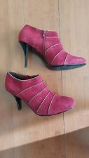 Charles David Womens Red Suede Ankel Boots Size 8.5