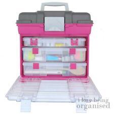 Craft Organiser Hobby Box Bin Large Grab N Go Rack System w/ 3 Organisers