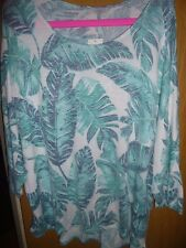 bnwt/new leaf-print scoop-neck batwing jumper sweater ladies size 22