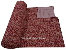 Indian Handmade Kantha Quilt Paisley Throw Reversible Bedspread Vintage Cotton