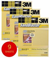 3M Sandblaster Sandpaper Sheets Paint Stripping Bare Surface (9 Sheets) 240 Fine - 9 Sheets