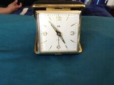 Vintage ELGIN Brown Clamshell Case Wind Up Travel Alarm Clock