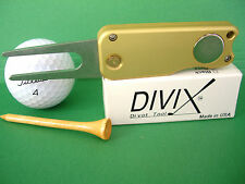DIVIX GOLF switchblade DIVOT TOOL in SATIN GOLD-MADE IN THE USA!