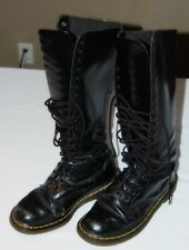 DR MARTENS Vintage 20 Hole Black Leather Very Well Used Goth Boots Women SIZE 8
